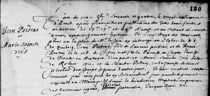 Acte de mariage de Jean Poitras (Poidras) avec Marie-Xainte Vié (Vier) le 27 août 1664.